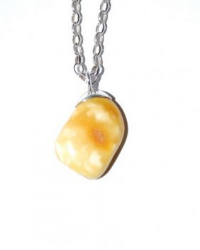 Baltic Amber Pendant With Silver Chain