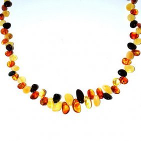 Necklace From Genuine Baltic Amber Drop Form Bead