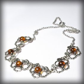Gorgeous Silver Necklace With Honey Color Baltic