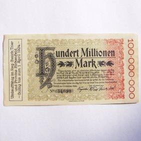 100 000 000 Mark Reichsbanknote, The German City