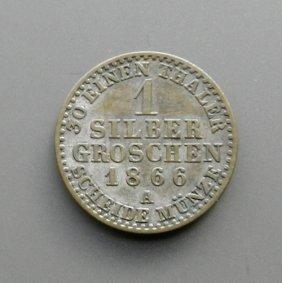 . 1 Silver Groschen Coin From 1866.german Empire.