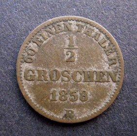 . 1 Groschen Coin. Made In 1858. Made In German E