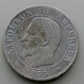Coin Made In France In 1855. Napoleon Iii.