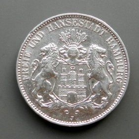 German Reich, 3 Mark Silver Coin. Made In 1914