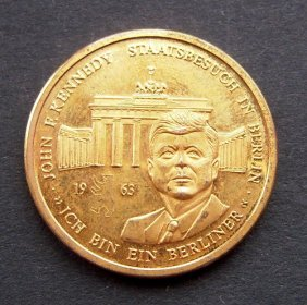 Kennedy Gold Plated Coin From Germany. Very Good