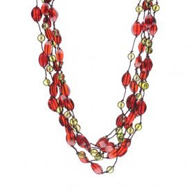 Green And Red Caribbean Amber Six Rows Necklace