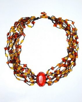 Genuine Amber Necklace Composition From 8 Strands