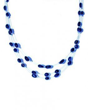 Multi Strand Necklace From Deep Blue Oval Cut Car