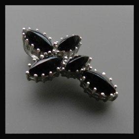 Vintage Silver Pendant With Onyx Stones Decoratio