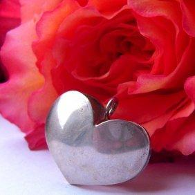 Heart Form Silver Pendant Plate-mark - 925.vintag