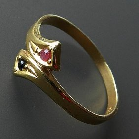 Gold Plated Silver Ring With Colourful Stones Lov
