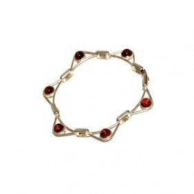 Bracelet Hand Made From Baltic Amber And Silver