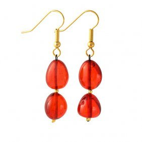 Dangle Earrings From Free Form Ruby Color Caribbe