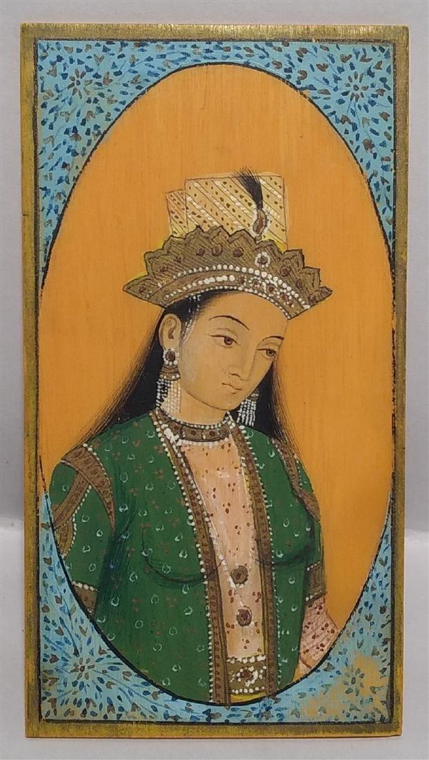 Antique Middle East Mini Persian Female Portrait 19thC
