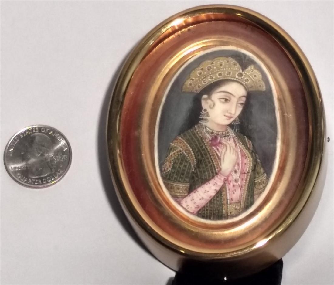19c  Hand Painted Persian Qajar Lady Portrait Painting