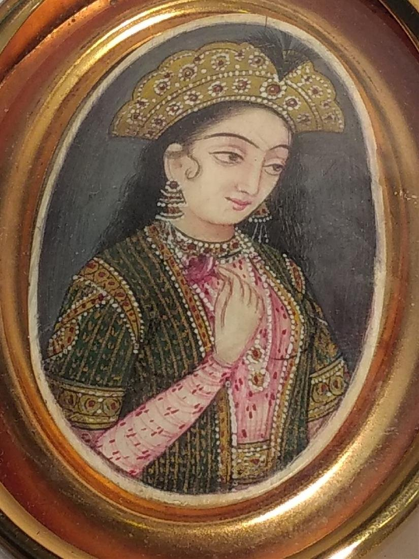 19c  Hand Painted Persian Qajar Lady Portrait Painting - 2