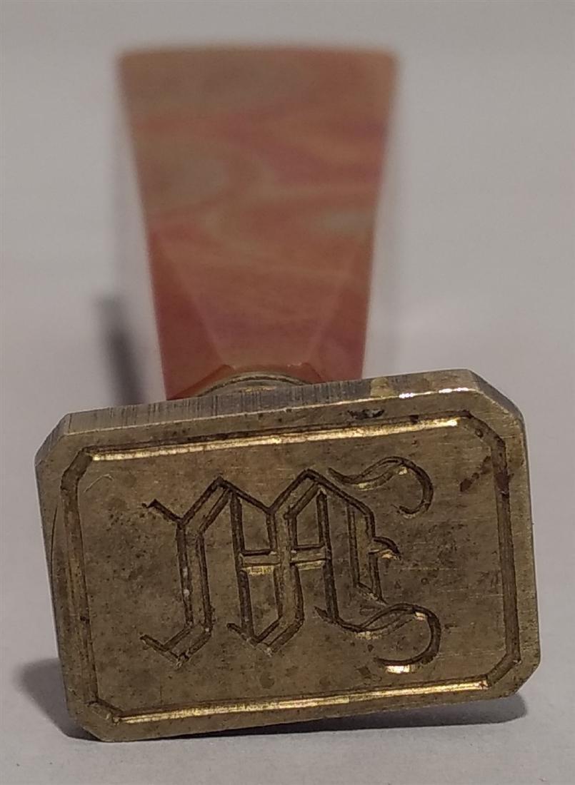 Antique Victorian Onyx Wax Seal Desk Stamp letter M - 2