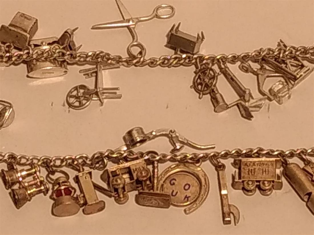 2 Sterling Silver Charm Bracelets. Over 40 charms. - 3