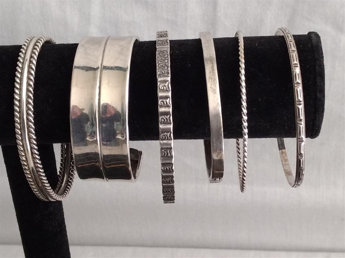 Sterling Silver Jewelry. Ten pieces. Bracelets, Cuffs, - 2