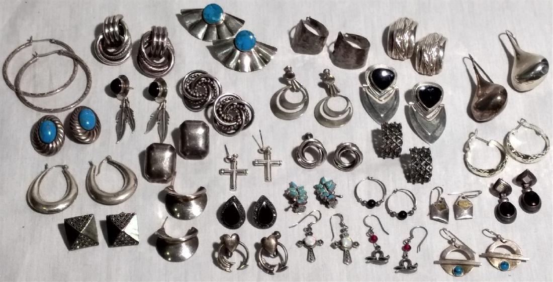 Vintage Sterling Silver Earrings. 28 Pair.