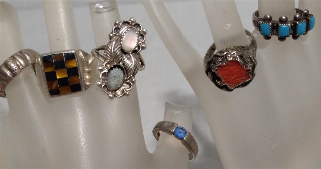 Sterling Silver Rings.  Grouping of Six.