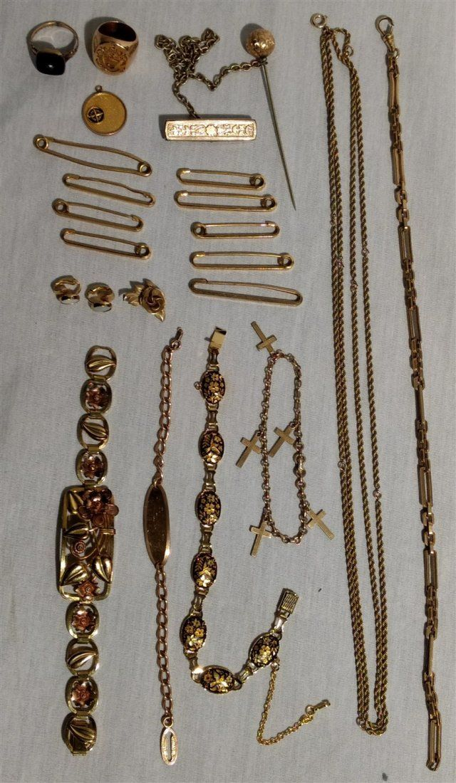 Vintage Gold Filled Jewelry Lot. Fobs, rings,