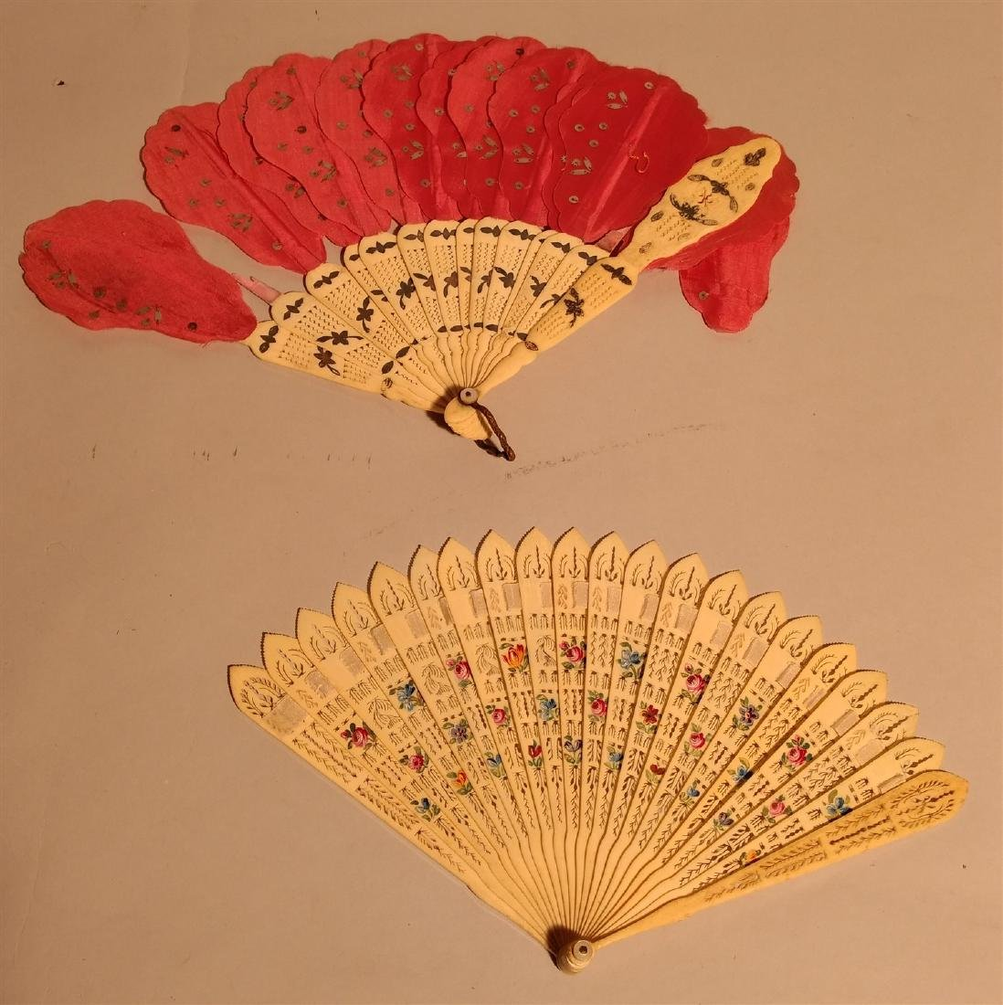 Pair of Asian Carved Hand Fans