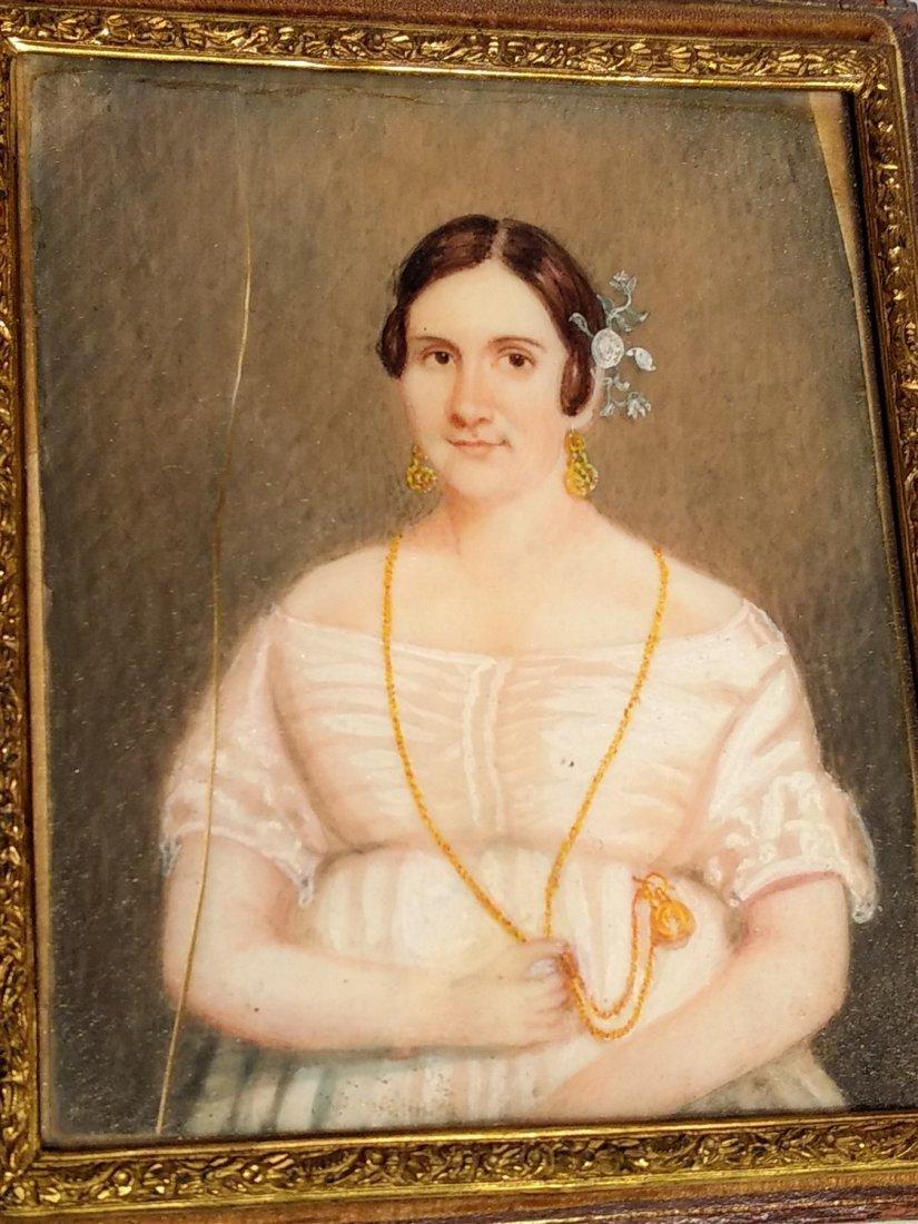 Gutta percha Victorian Hand Painted Lady Portrait