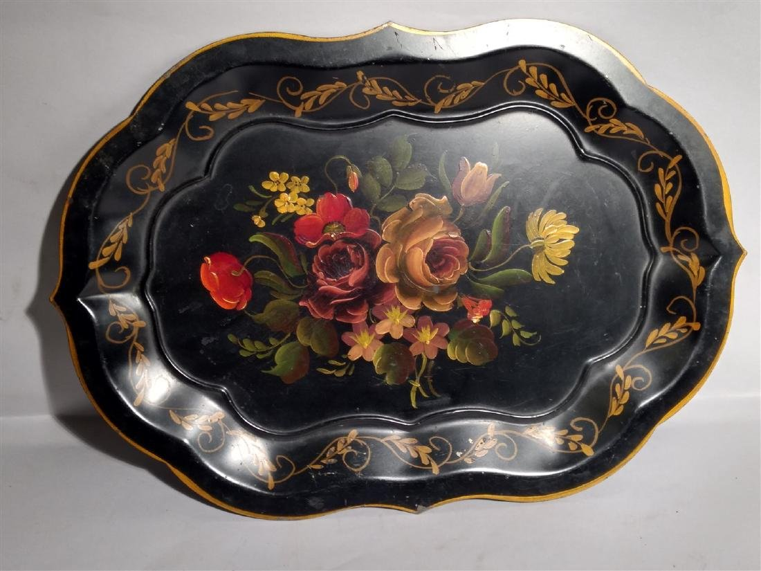 Antique Hand Painted Tole Serving Tray