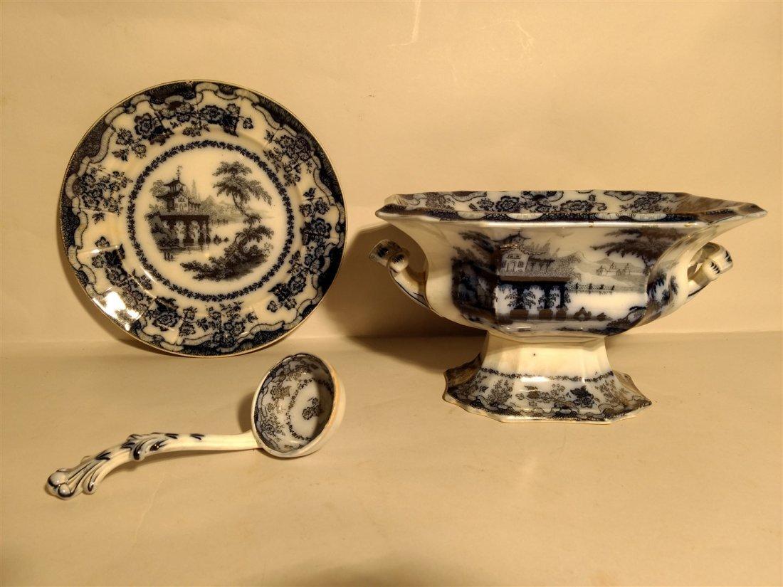 Antique Flow Blue RARE  Percy Dinnerware Lot
