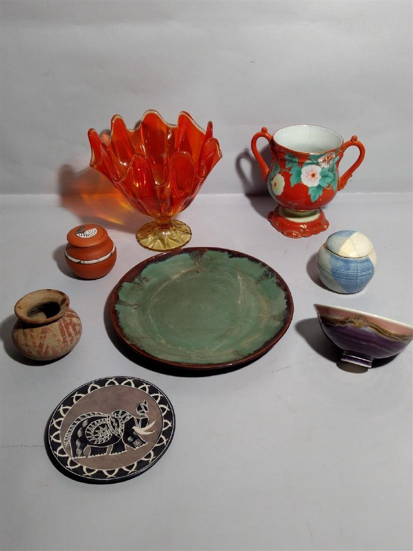 Mixed Art Pottery Carnival Glass