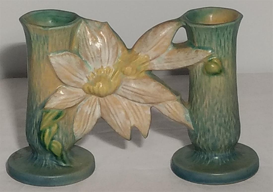Roseville Pottery Double Bud Vase Blue Clematis