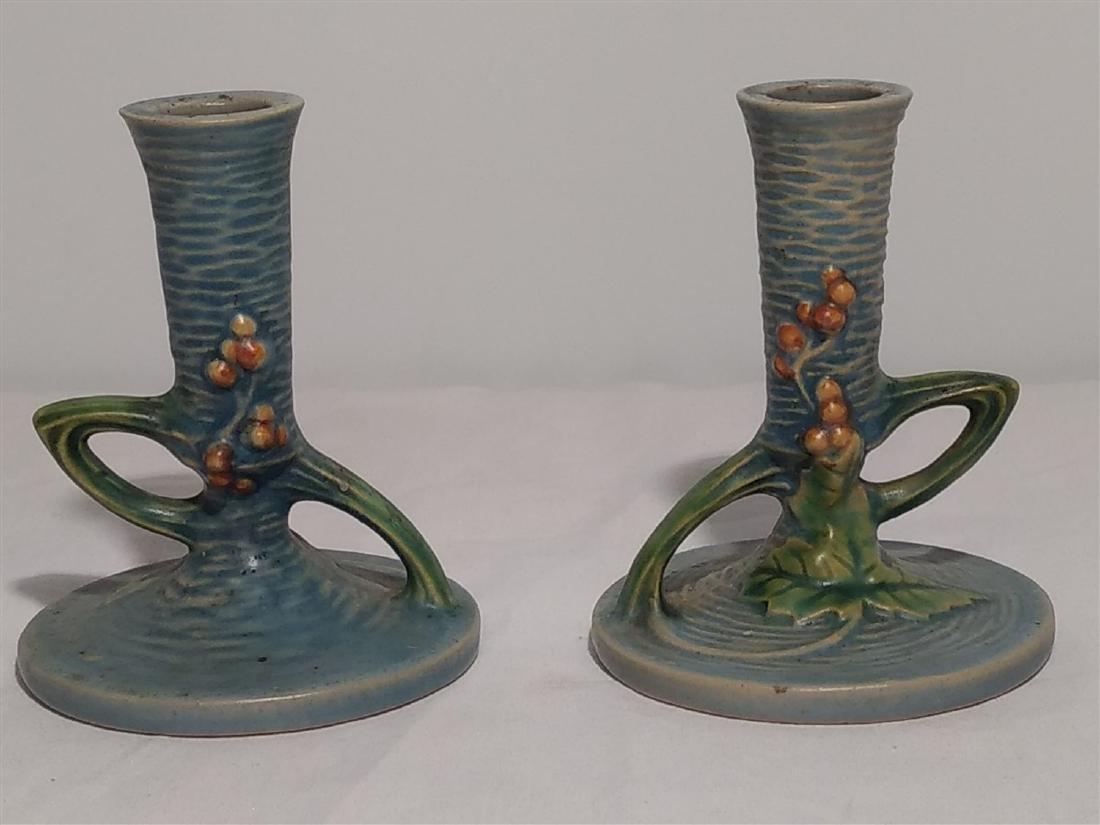 Roseville Pottery Blue Leaf Design Candle Sticks