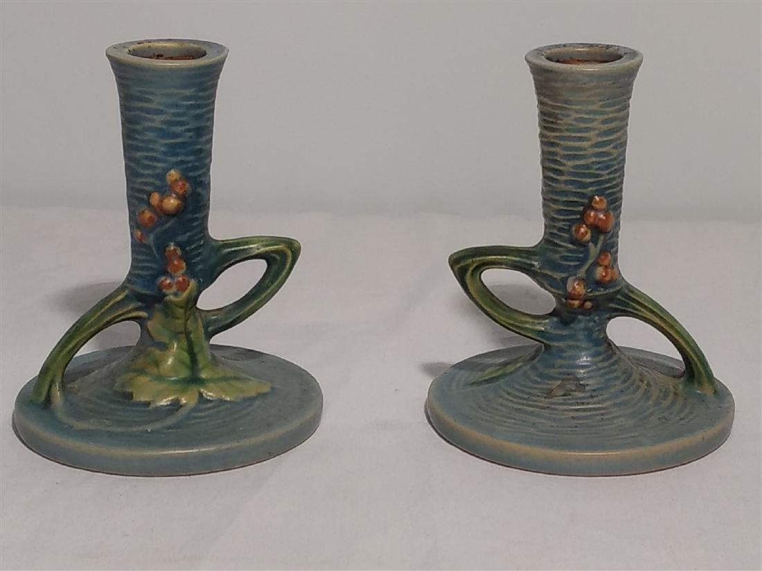 Roseville Pottery Blue Leaf Design Candle Sticks - 2