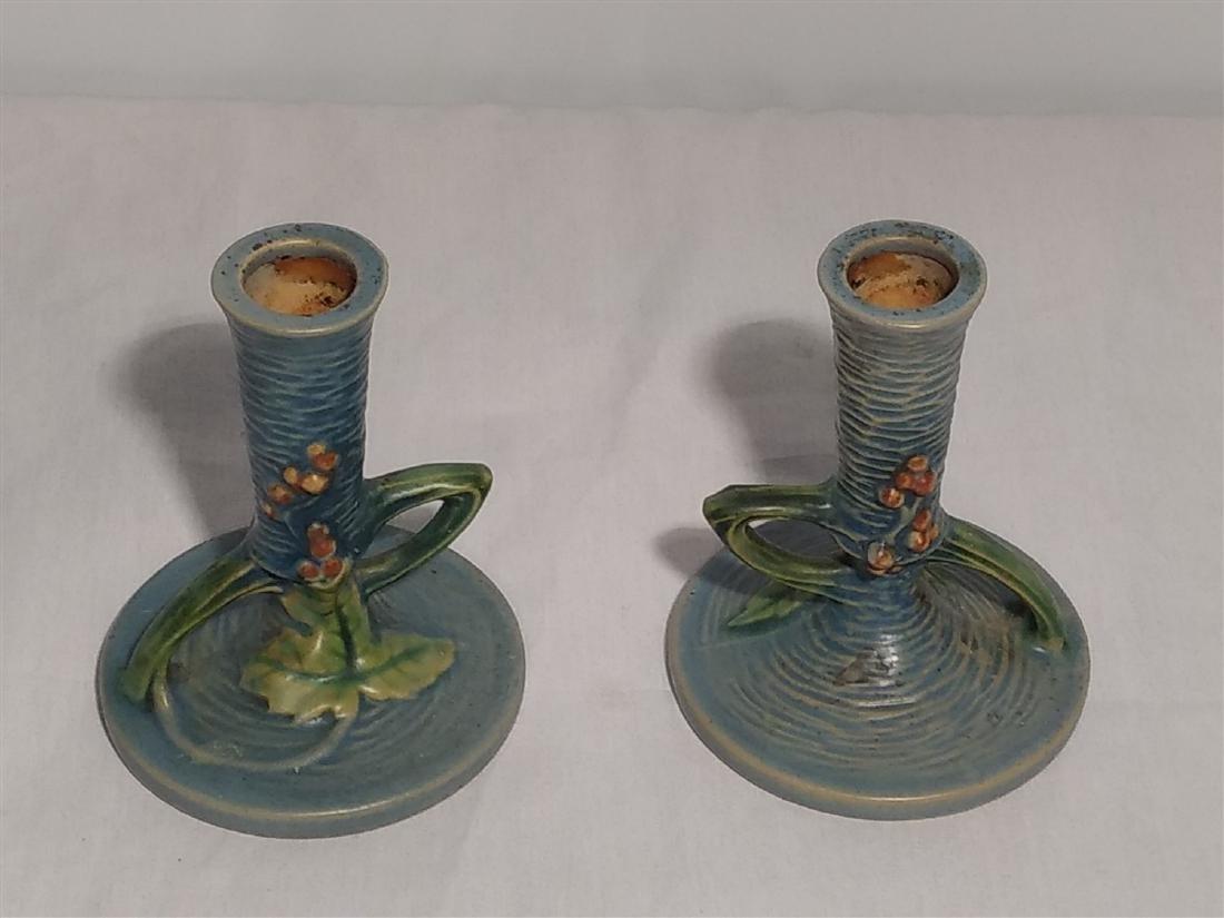 Roseville Pottery Blue Leaf Design Candle Sticks - 3