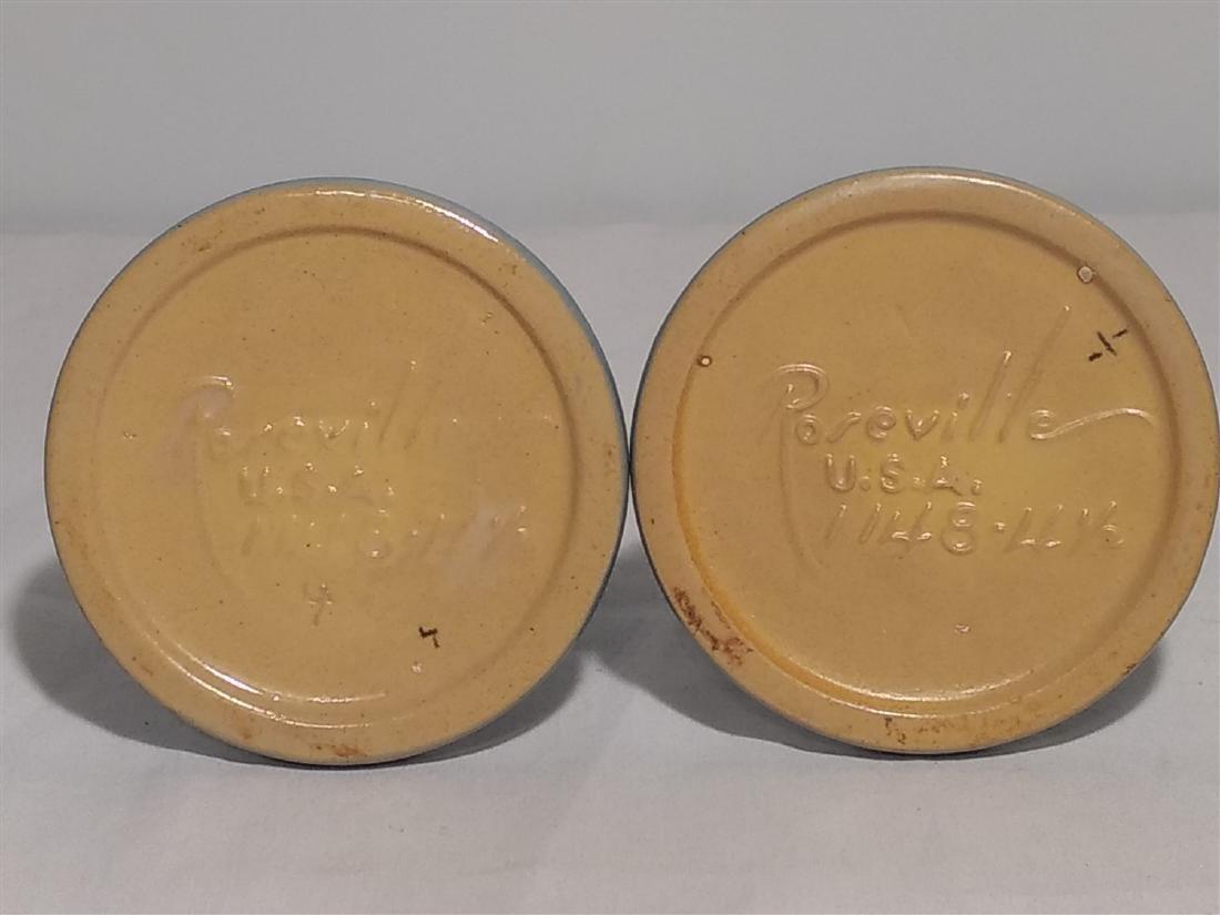 Roseville Pottery Blue Leaf Design Candle Sticks - 4