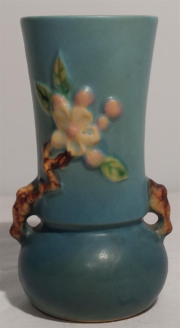 Roseville Pottery Blue Apple Blossom Vase