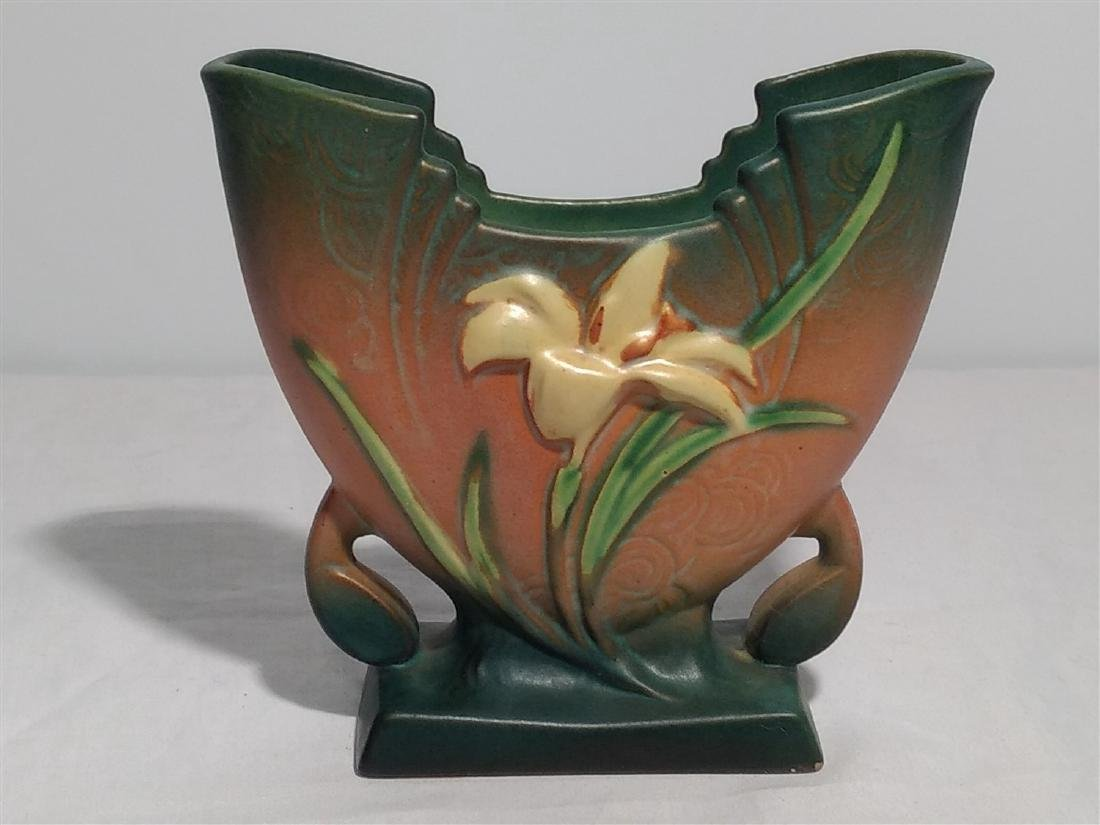 Roseville Pottery Brown Zephyr Lily Vase