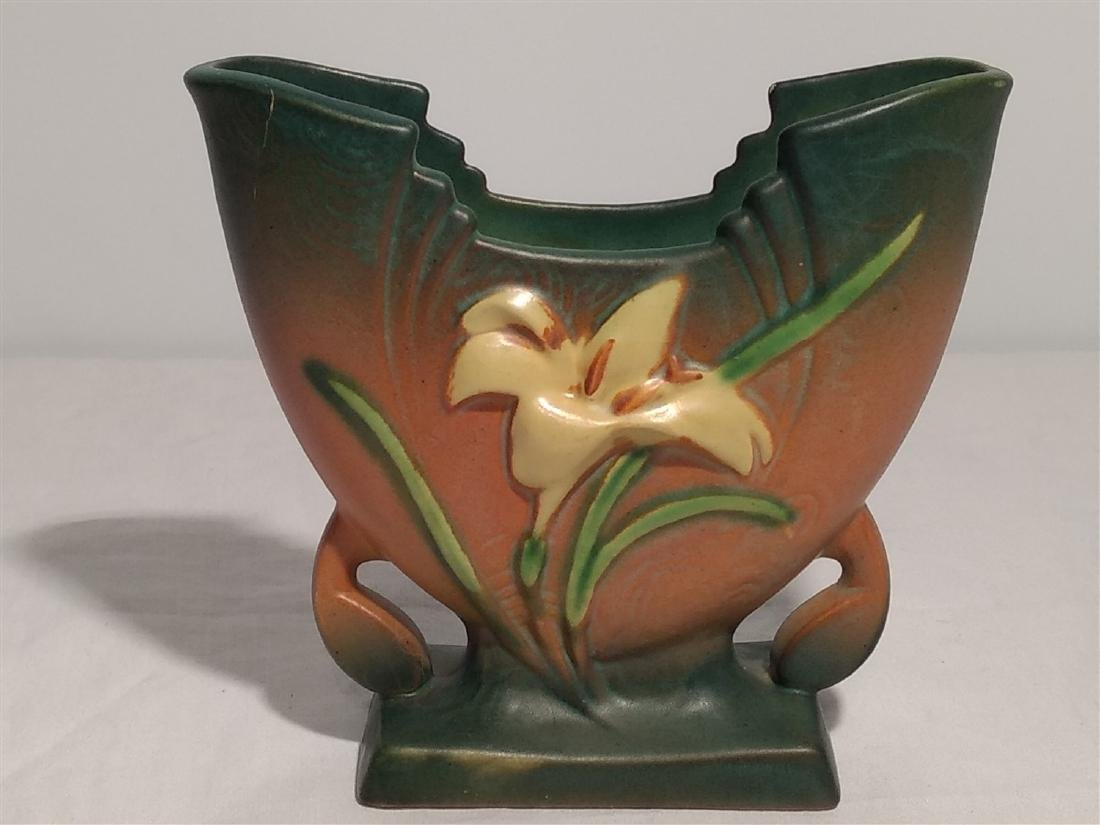 Roseville Pottery Brown Zephyr Lily Vase - 2