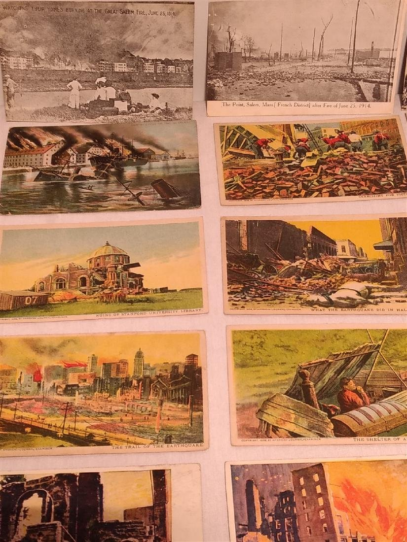 Antique Post Cards Disaster Theme Lot - 5