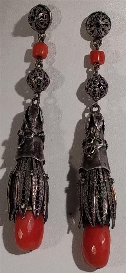 Jewelry Antique, Sterling Silver, Coral Dangle Earrings