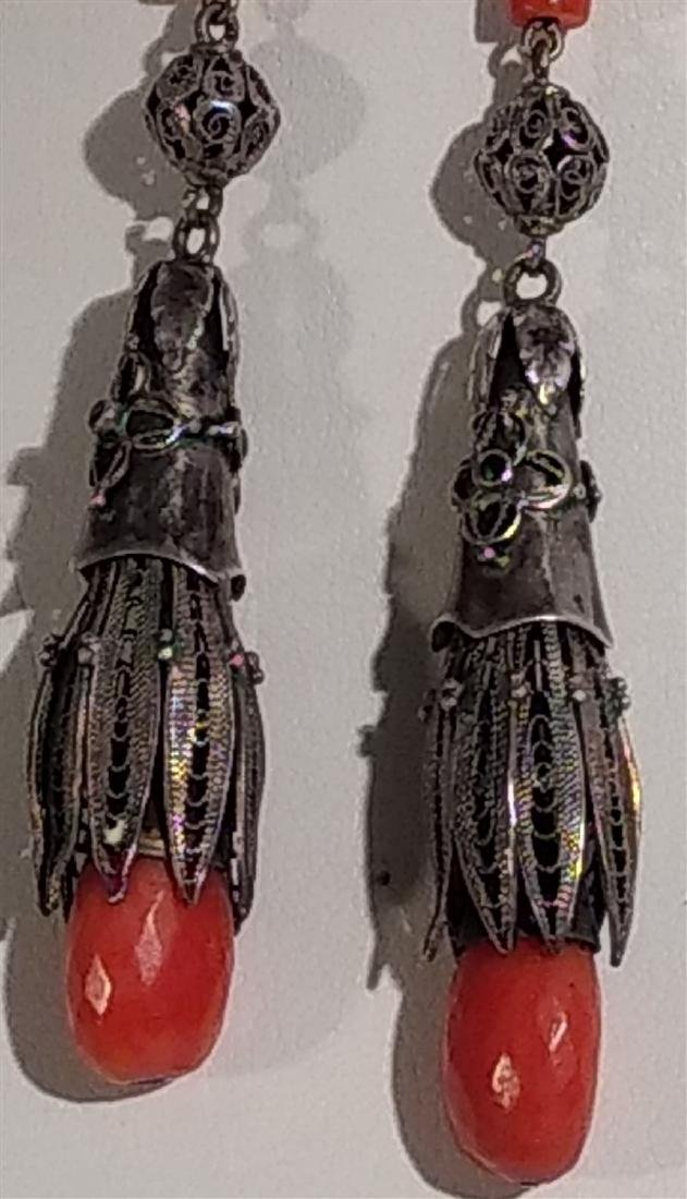 Jewelry Antique, Sterling Silver, Coral Dangle Earrings - 2