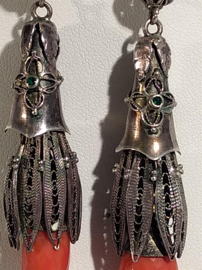 Jewelry Antique, Sterling Silver, Coral Dangle Earrings - 3