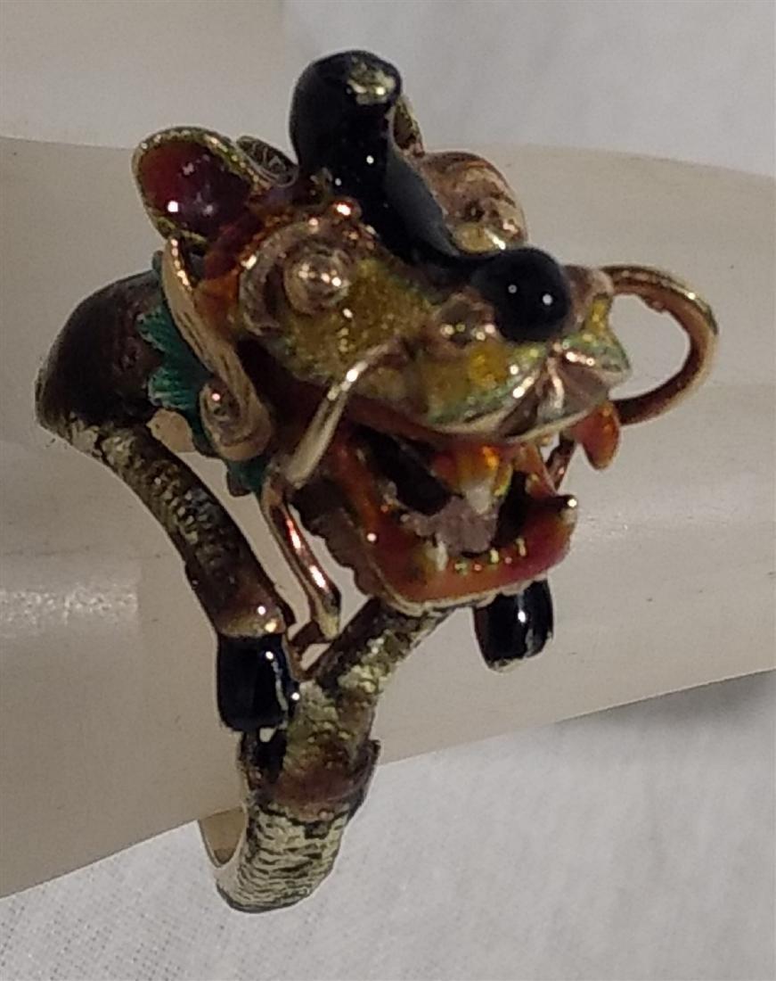 14K Yellow Gold Enamel Dragon or Foo Dog Asian Ring