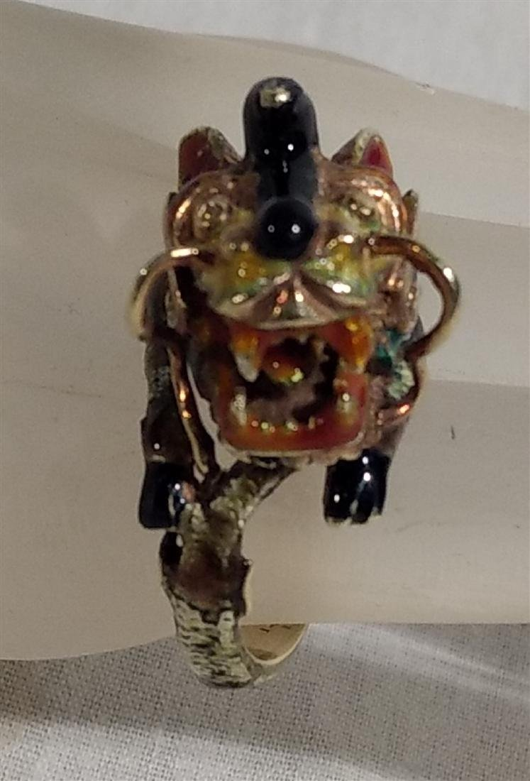 14K Yellow Gold Enamel Dragon or Foo Dog Asian Ring - 4