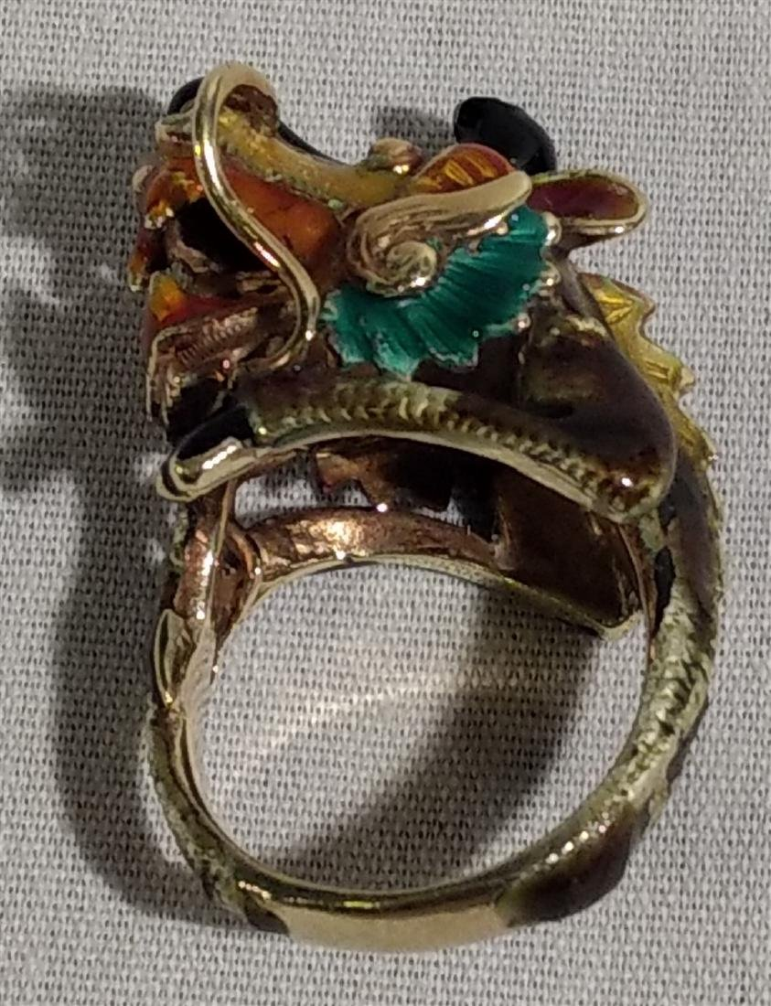 14K Yellow Gold Enamel Dragon or Foo Dog Asian Ring - 7