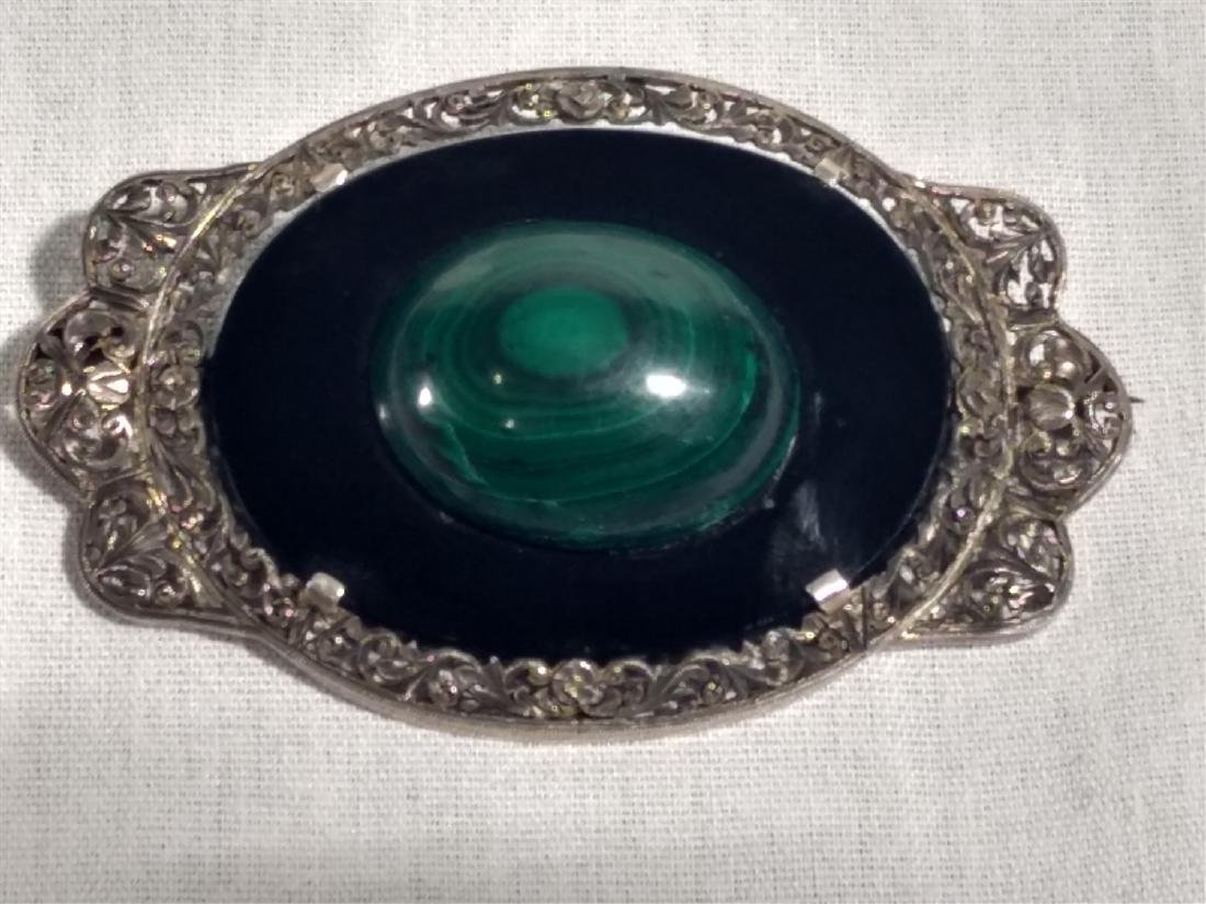 Victorian Brooch/Pin Lapis/Onyx/Silver - 2