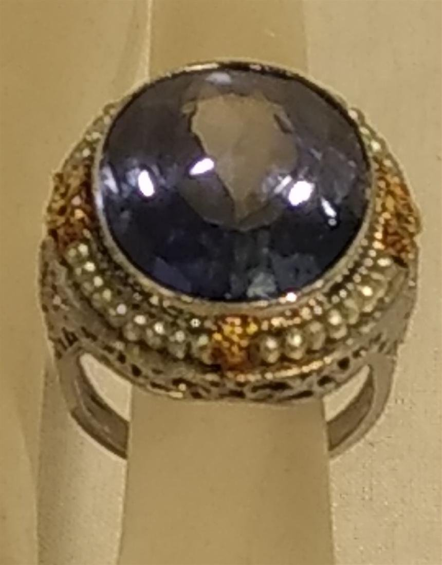 Jewelry Antique 10k Gold and Large Blue Stone Ring - 2