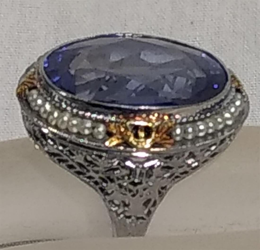 Jewelry Antique 10k Gold and Large Blue Stone Ring - 3