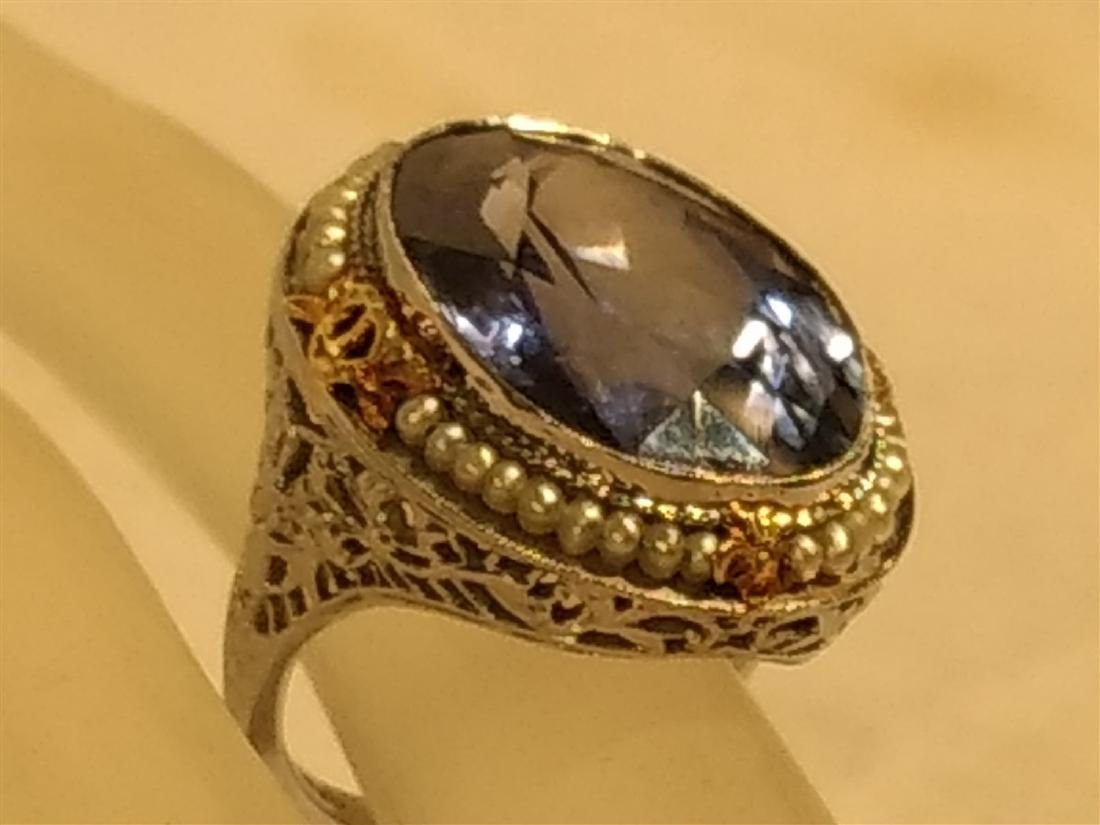Jewelry Antique 10k Gold and Large Blue Stone Ring - 4
